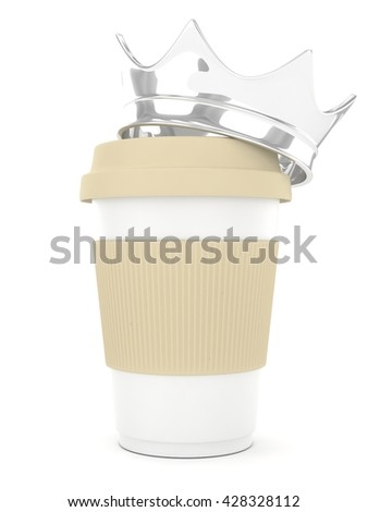 Coffee cup with silver crown on white background. Concept of luxury royal coffee. 3D rendering.