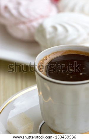 Coffee cup with sweet marshmallow