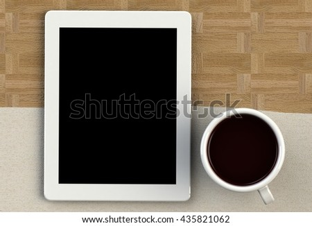 Coffee cup with tablet on white fabric and wood table, 3D rendering