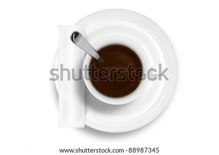 Coffee cup without smoke and white sugar bag - stock photo