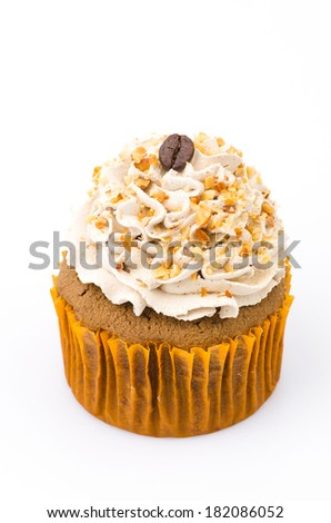 Coffee cupcake isolated white background - stock photo