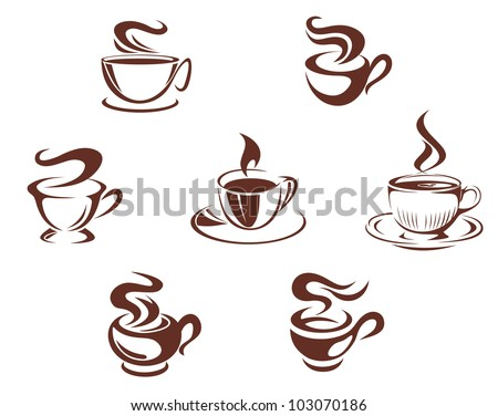 Coffee cups and mugs symbols isolated on white background, such logo. Vector version also available in gallery - stock photo