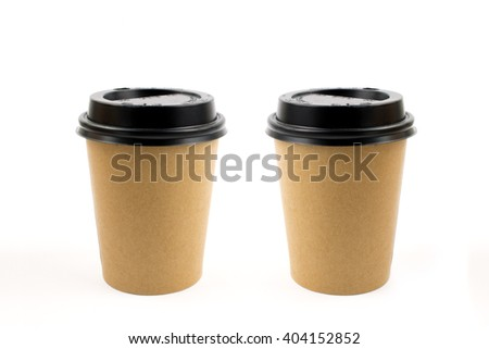Coffee Cups in Brown Craft Isolated. - stock photo