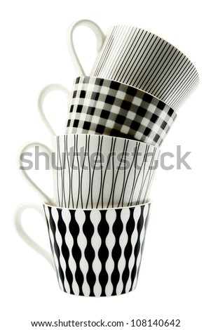 Coffee cups isolated on white. - stock photo
