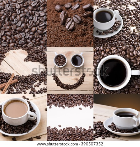Coffee. Cups of coffee. Coffee bean.  Collage of different coffee details. Concept - stock photo