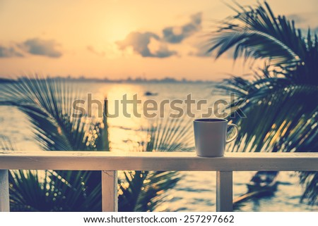 Coffee cups on sunset times - vintage effect filter - stock photo