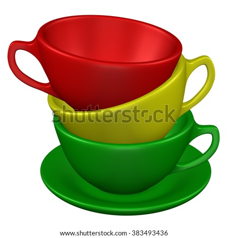 Coffee cups on the saucer, isolated on white background.
