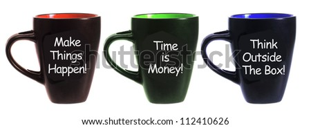 Coffee Cups on White Background - stock photo