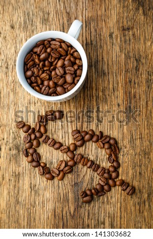 Coffee dollar sign created from coffee beans