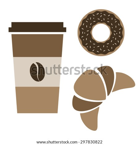 coffee, donut and croissant. Raster version - stock photo