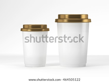 Coffee drinking cup sizes white gold scheme 3d rendering