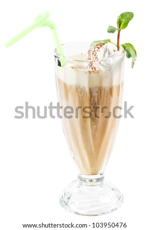 Coffee drinks with cream in glass on white background - stock photo