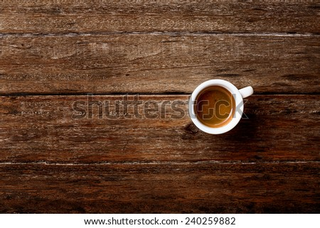 Coffee Espresso. Cup Of Coffee on a wooden table - stock photo