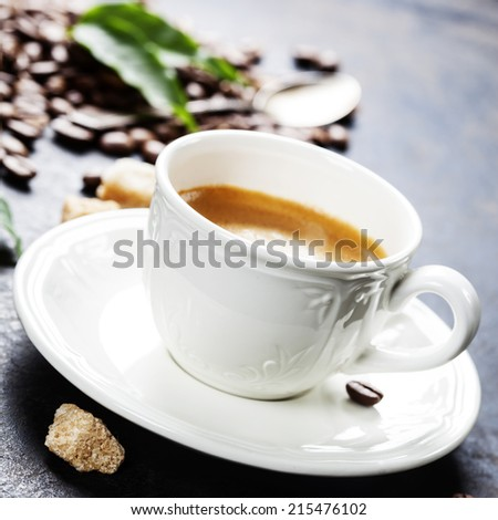 Coffee Espresso. Cup Of Coffee on dark background - stock photo