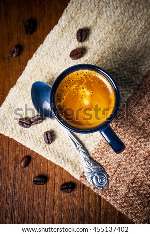 Coffee Espresso. Cup Of Coffee on wooden background.