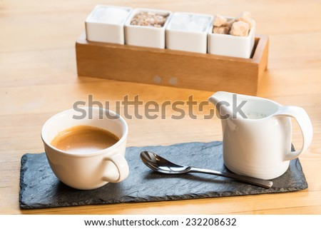 Coffee Espresso. Cup Of Coffee. Selective focus - stock photo