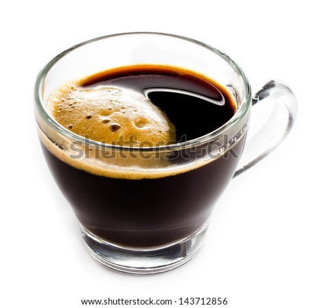 Coffee Espresso in  Glass small cup with foam white background, closeup - stock photo