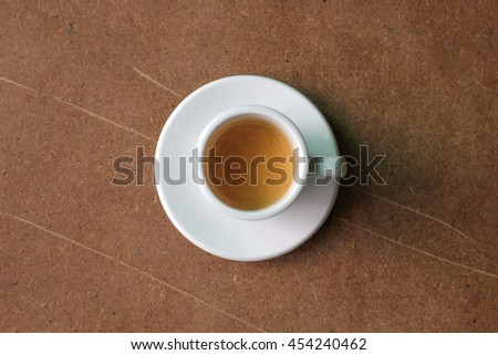 Coffee espresso on the vintage wood table top view