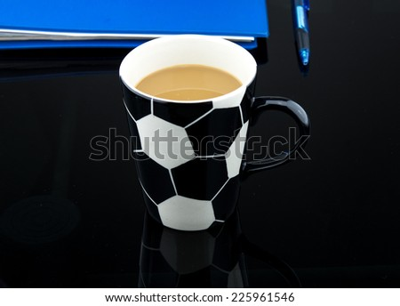 Coffee Football cup and laptop for business. - stock photo