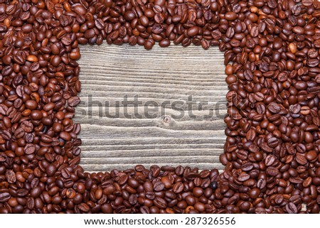 coffee frame on a wooden background