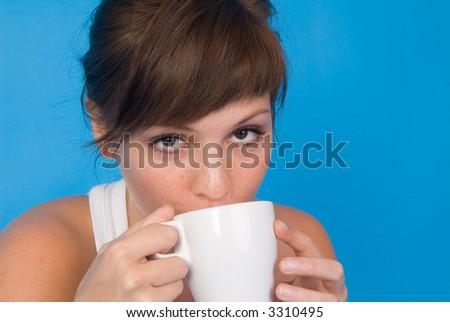 coffee girl - stock photo