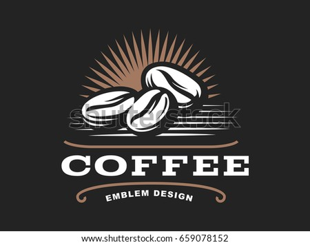 Coffee grain logo -  illustration, emblem design on black background