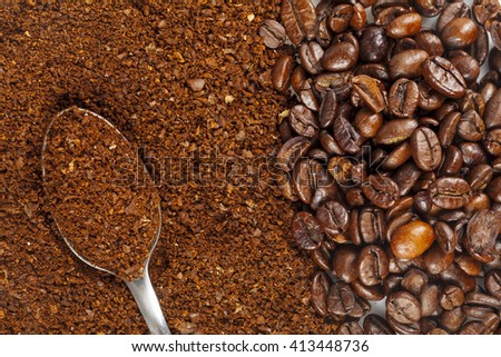 coffee grains and Grinded - stock photo