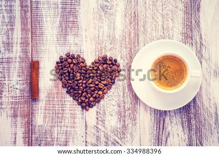 coffee grains as a heart I love to coffee - stock photo