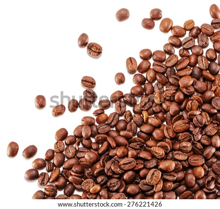 coffee grains isolated on the white background - stock photo
