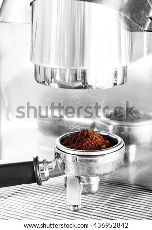 Coffee grind in group with black and white filter, stock photo
