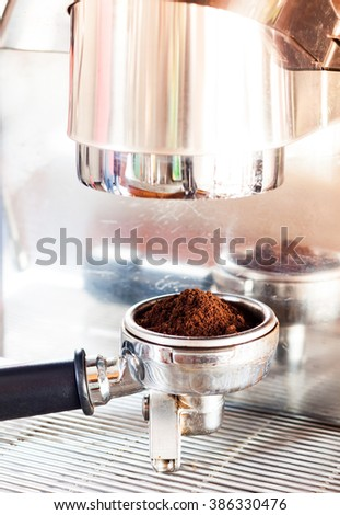 Coffee grind in group with coffee machine with vintage style, stock photo