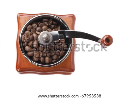 Coffee grinder and coffee grains - stock photo