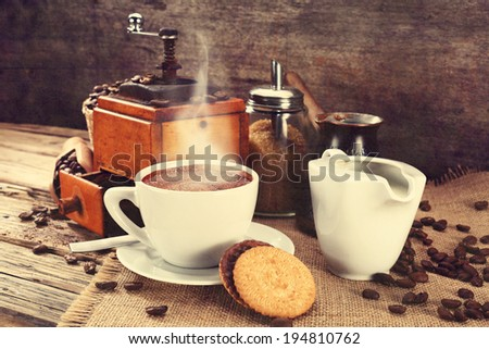 coffee grinder and cookies