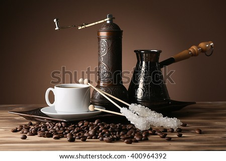 Coffee grinder and turk - stock photo
