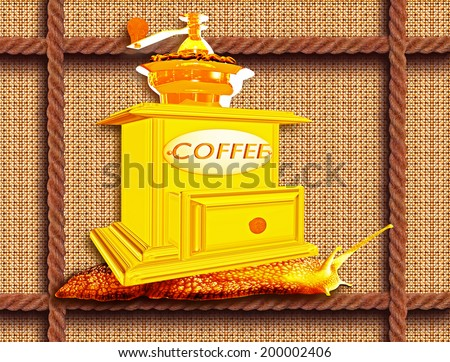 Coffee grinder on a snail creeping on a rope - stock photo