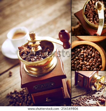 Coffee grinder with coffee beans. Vintage still life - stock photo