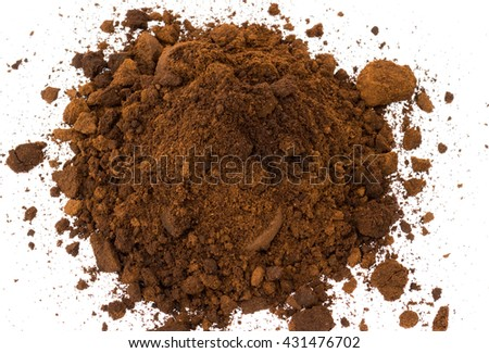 Coffee ground on white background