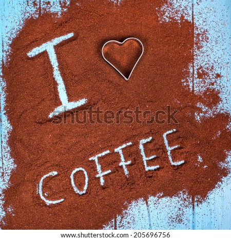 coffee ground with i love coffee text and heart shape - stock photo