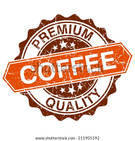 Coffee grungy stamp isolated on white background - stock photo
