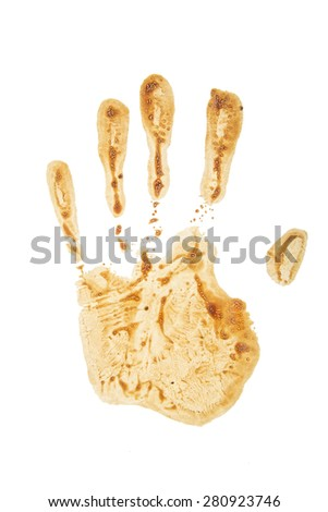 coffee handprint isolated on a white background - stock photo