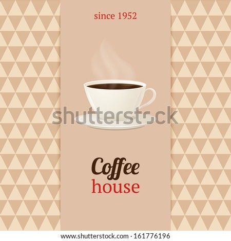 Coffee house menu with cup of hot drink.