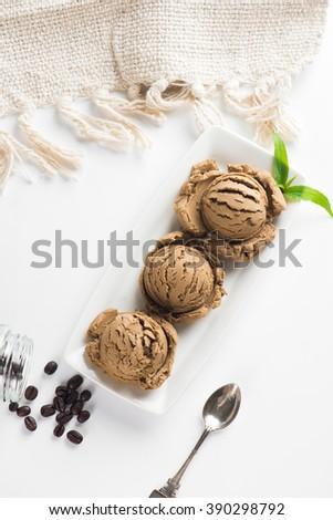 coffee ice cream in white background - stock photo