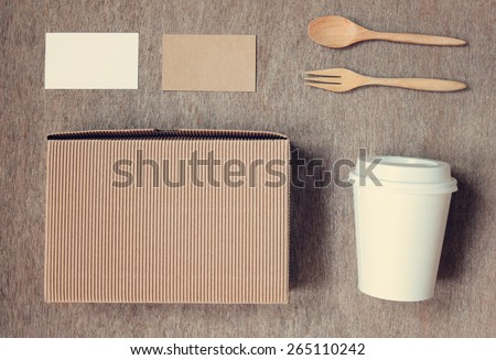 Coffee identity branding mockup set top view with vintage filter effect - stock photo