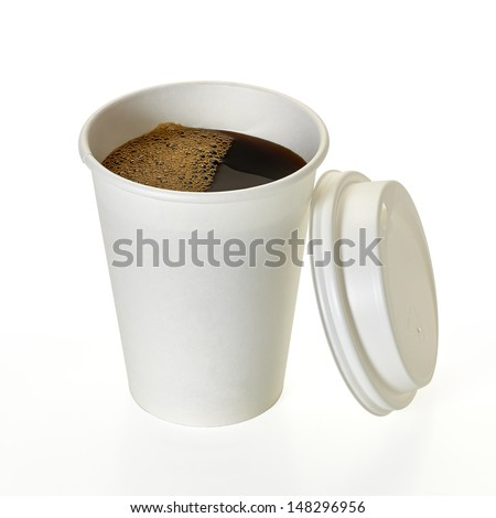 Coffee in blank take away cup with clipping path on white background - stock photo