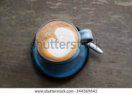 Coffee in blue cup - stock photo