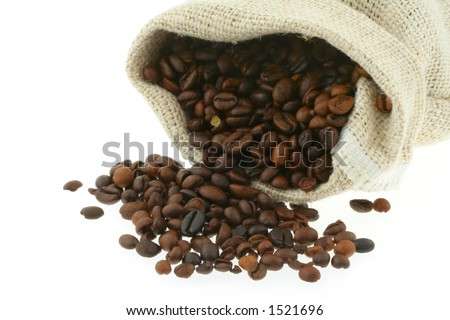 coffee in burlap sack #2 - stock photo