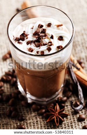 coffee in cream and chocolate - stock photo