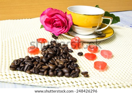 Coffee in Love and Red Rose - stock photo