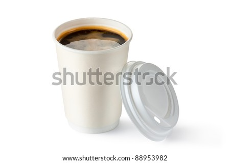 Coffee in opened disposable cup. Isolated on a white. - stock photo