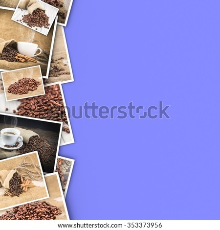 Coffee in photos on a color background. - stock photo